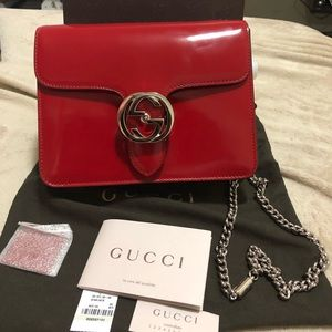 Large Marmont red Gucci chain shoulder bag